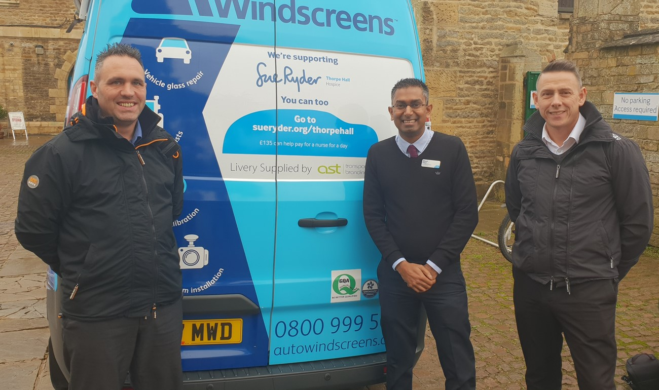 LR Matthew Rawles of Auto Windscreens, Nilesh Patel of Sue Ryder Thorpe Hospice and Steve Coddington of Auto Windscreens with van.jpg