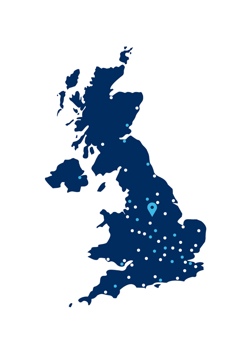UK map with Auto Windscreens' sites